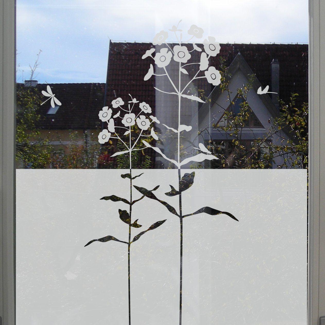 Dekorativer Sichtschutz Mit Blumen Fenster Klebefolie Floral Fenster Klebefolie Fenster Privatsphare Fensterfolie