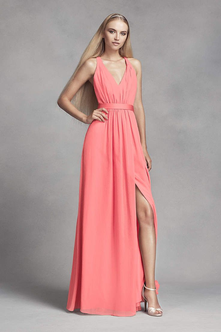 Dress your bridesmaids in elegance with long coral reef gowns. Find ...