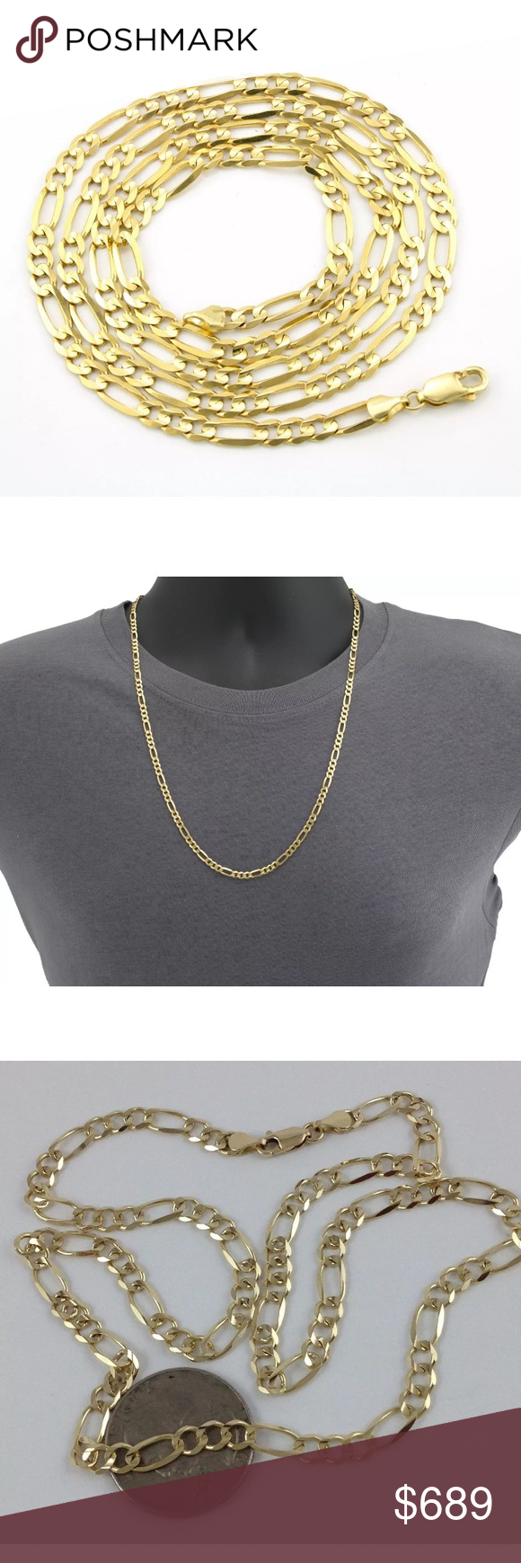Real Gold 5mm 20 Figaro Chain Mens Necklace New Men S Necklace Solid Gold Jewelry Figaro Chains