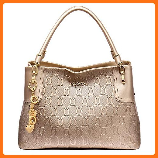 NAWO Leather Designer Handbags Shoulder Tote Top-handle Bag Clutch Purse  for Women Champagne Gold - Top handle bags ( Amazon Partner-Link) 37cd2a455abeb