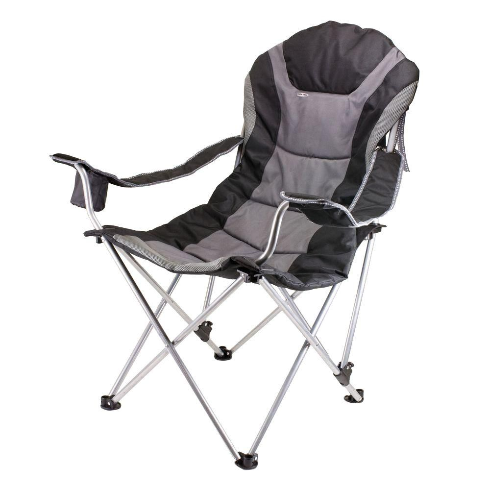 Picnic Time Reclining Camp Black And Grey Patio Chair Camping