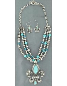 Blazin Roxx Triple Strand Beaded Fleur-De-Lis Necklace & Earrings Set