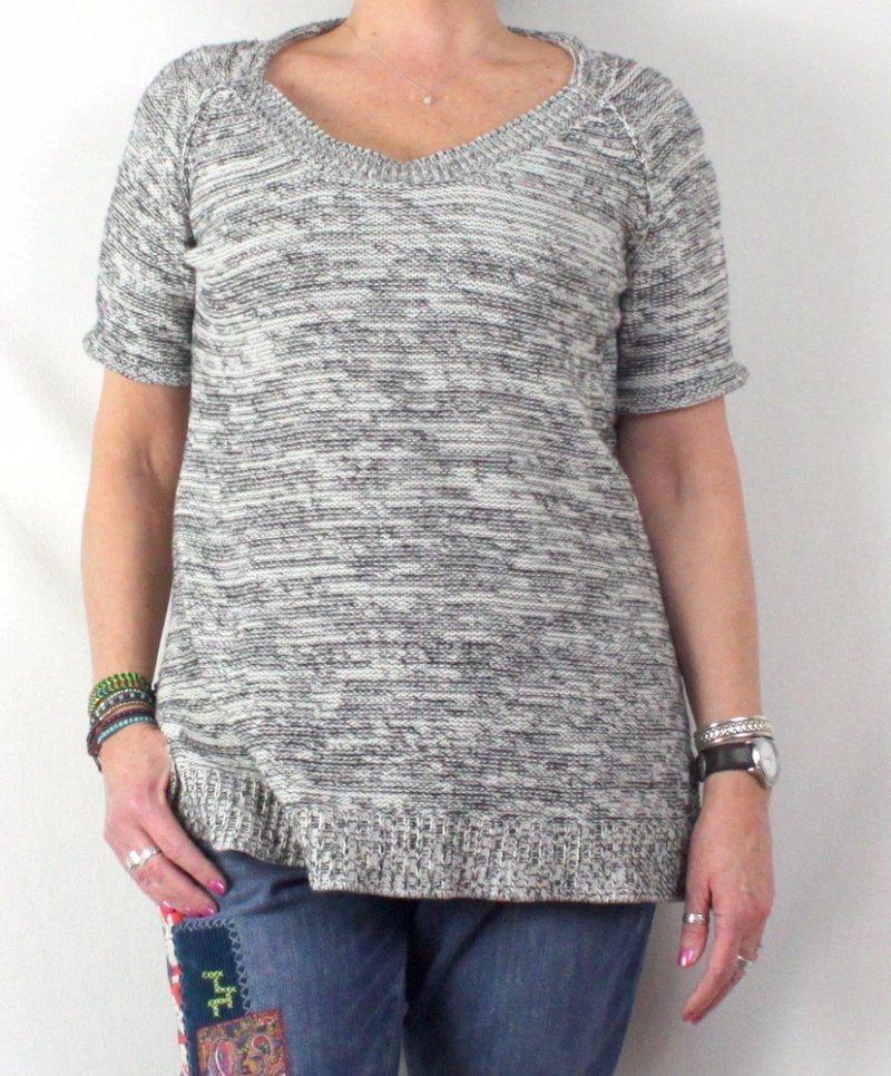 CAbi L size Black White Sweater Short Sleeve Long Cotton Blend Tunic  973   CAbi 082eec759