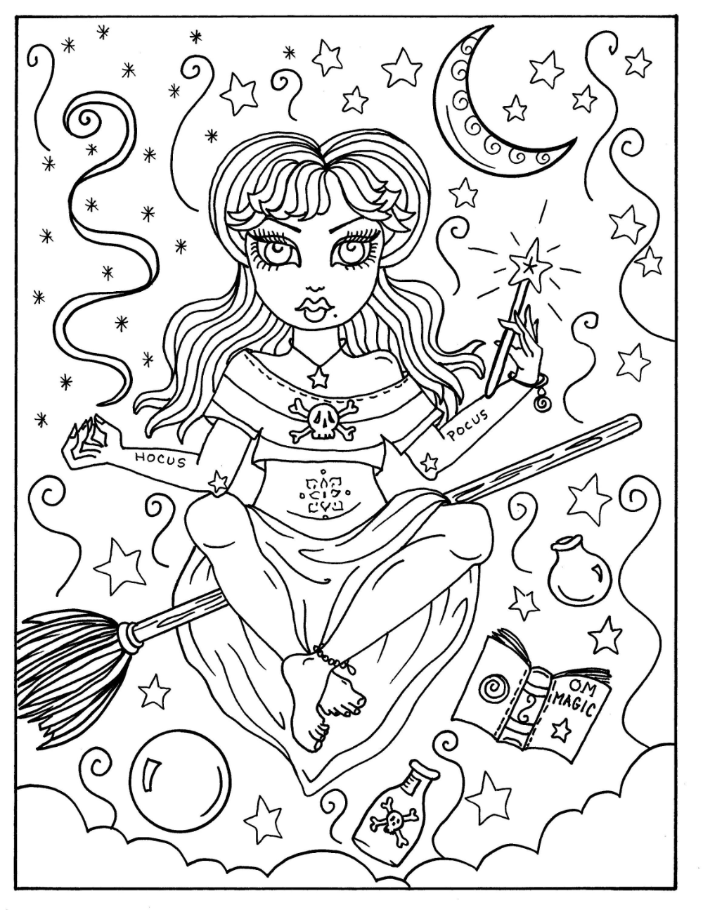 Hocus Pocus Witches Printable Coloring Pages For Adults Halloween Fun Halloween Witch Whimsical Coloring Book Halloween Coloring Book Witch Coloring Pages Halloween Coloring Disney Coloring Pages