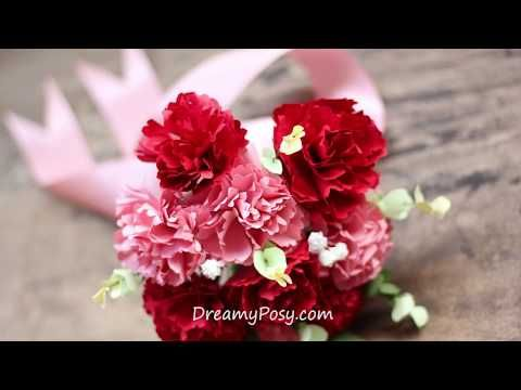 How to make carnation paper bouquet free template easy carnation flower mightylinksfo