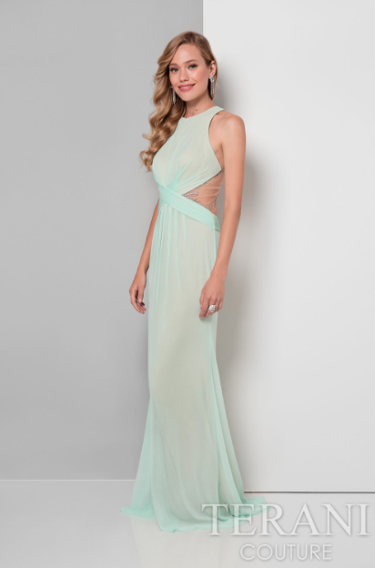 Criss Cross Midriff Dress With Beaded Back Prom Homecoming Formal