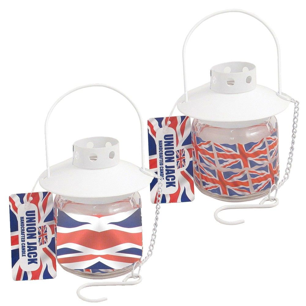 Union Jack Hanging Candle in Glass - Unscented Candles - Candles - Home Accessories