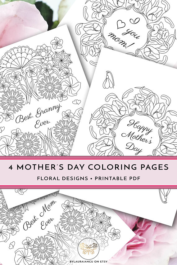 Printable Mother's Day Coloring Pages, DIY Happy Mother's
