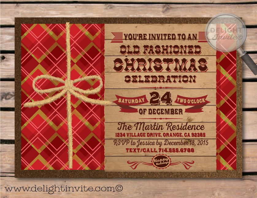 Old Fashioned Christmas Party Invitations [DI-10204] : Custom ...