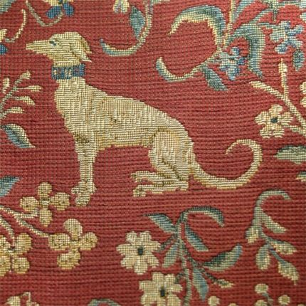 Celtic Medieval Red Wool Curtain And Upholstery Fabric Guinevere