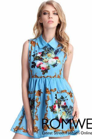 029c74b3f63 Aliexpress.com   Buy Romwe Women s Fashion Retro Printing Blue Dress Free  Shipping from Reliable fashion cursors suppliers on ROMWE