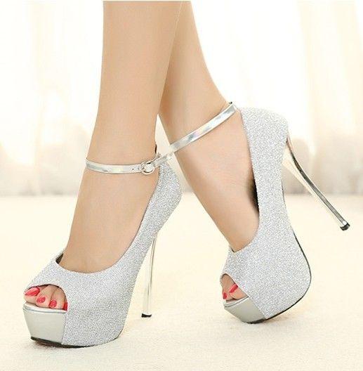 e1d6c0e1395 Fashion Glitter PU stiletto heels wedding shoe silver Open toe heels  Platforms Spring Autumn
