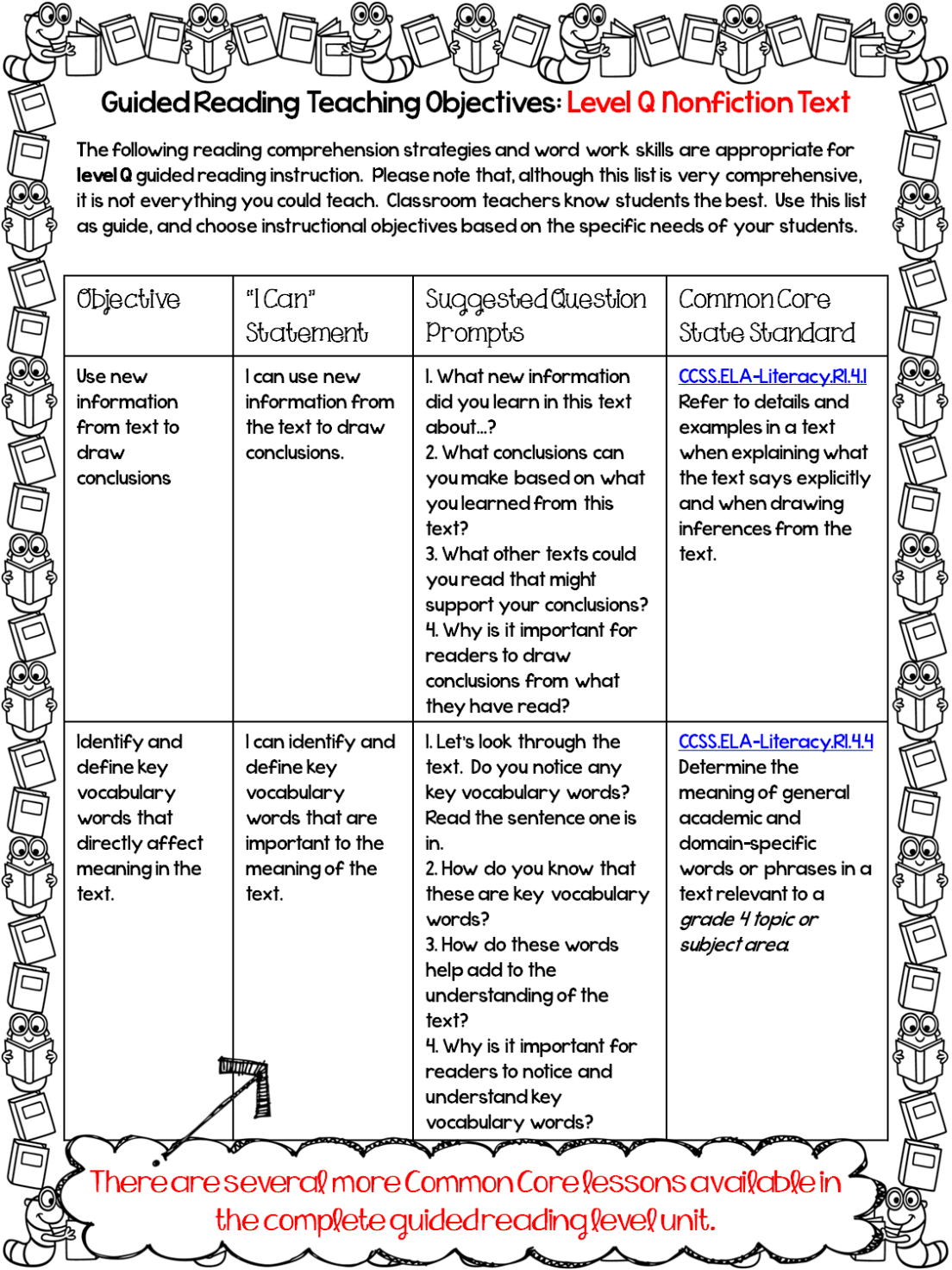 Free Guided Reading Grade 4 Lessons In
