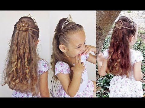 Penteado Infantil de princesa com cabelo meio preso para festa e formatura  - YouTube 393b2d094b1