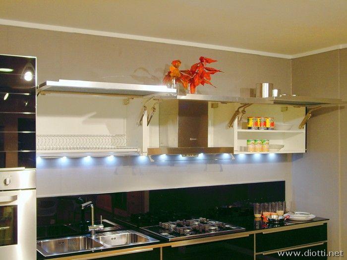 il piano di una cucina illuminato da faretti led a luce fredda