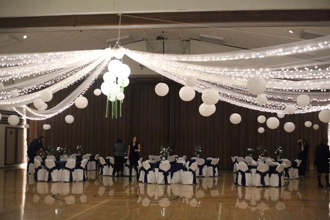 Pin By The Noteworthy Event On Lds Weddings Wedding Ceiling Gym Wedding Reception Lds Weddings Reception