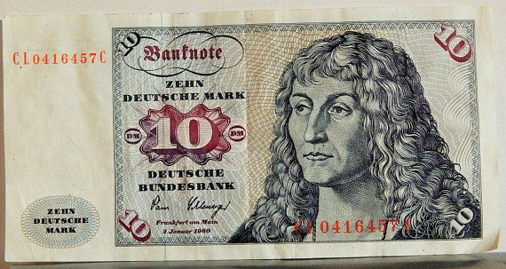 "GERMANY 1980 10 Deutsche Mark Bundesbank Banknote (5"" x 2"