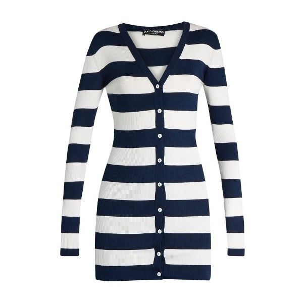 Dolce & Gabbana Rigato striped silk-jersey cardigan ($1,195) ❤ liked on Polyvore featuring tops, cardigans, blue stripe, v neck cardigan, blue cardigan, v-neck cardigan, white slip and button cardigan