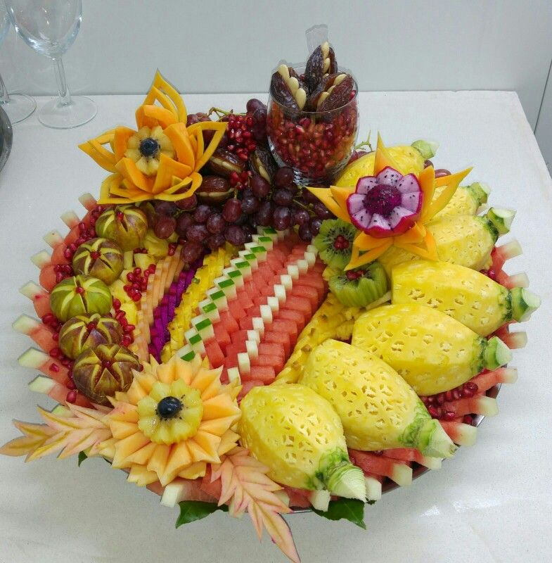 Fruits Plate Vegetables Overflowing And