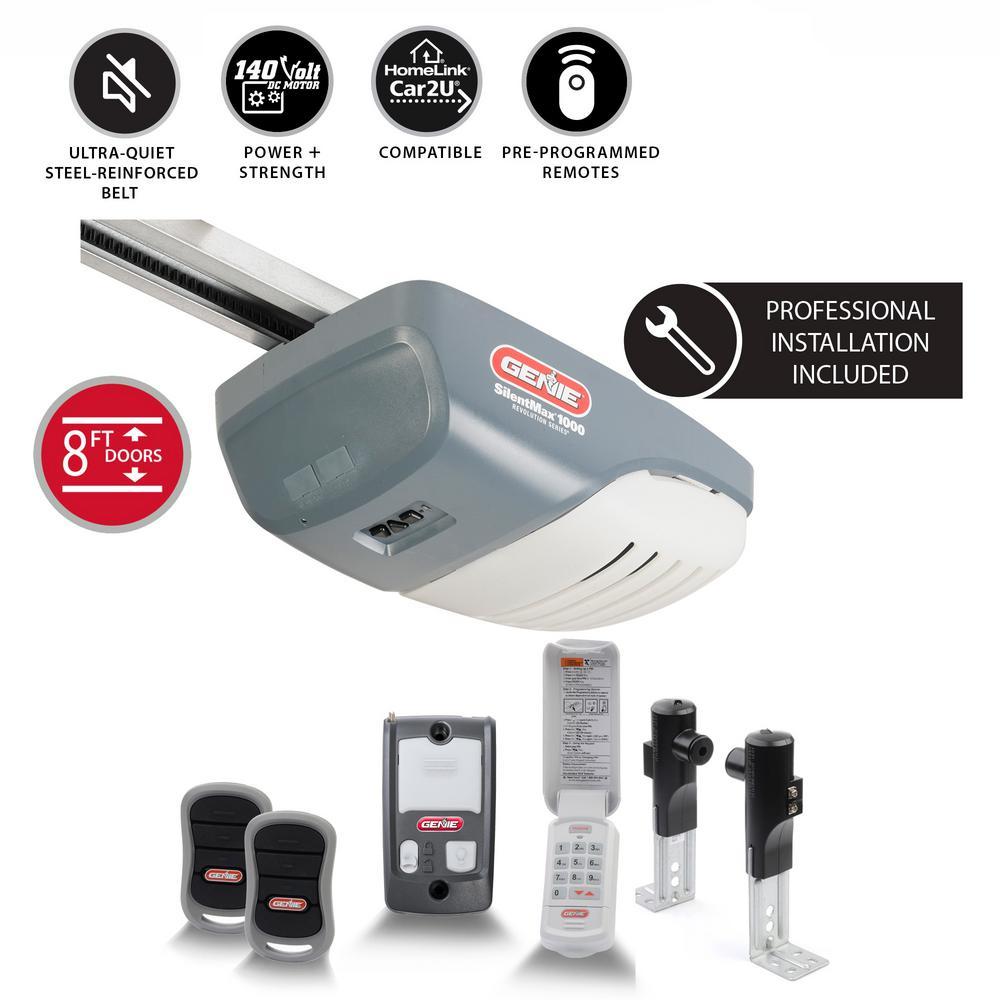 Genie Silentmax 1000 3 4 Hp Ultra Quiet Belt Drive Garage Door Opener W Professional Installation Included For 8 Ft Doors