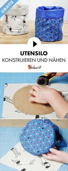 Cours vidéo gratuit: silo à ustensiles de couture sans patron de couture – étape par étape …   – DIY – Basteln & selber machen