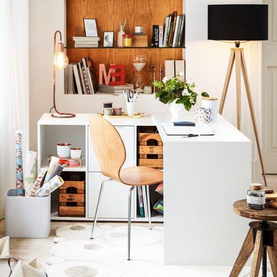 Smarter Schreibtisch KiYDOO platzsparend mit Sideboard Home24