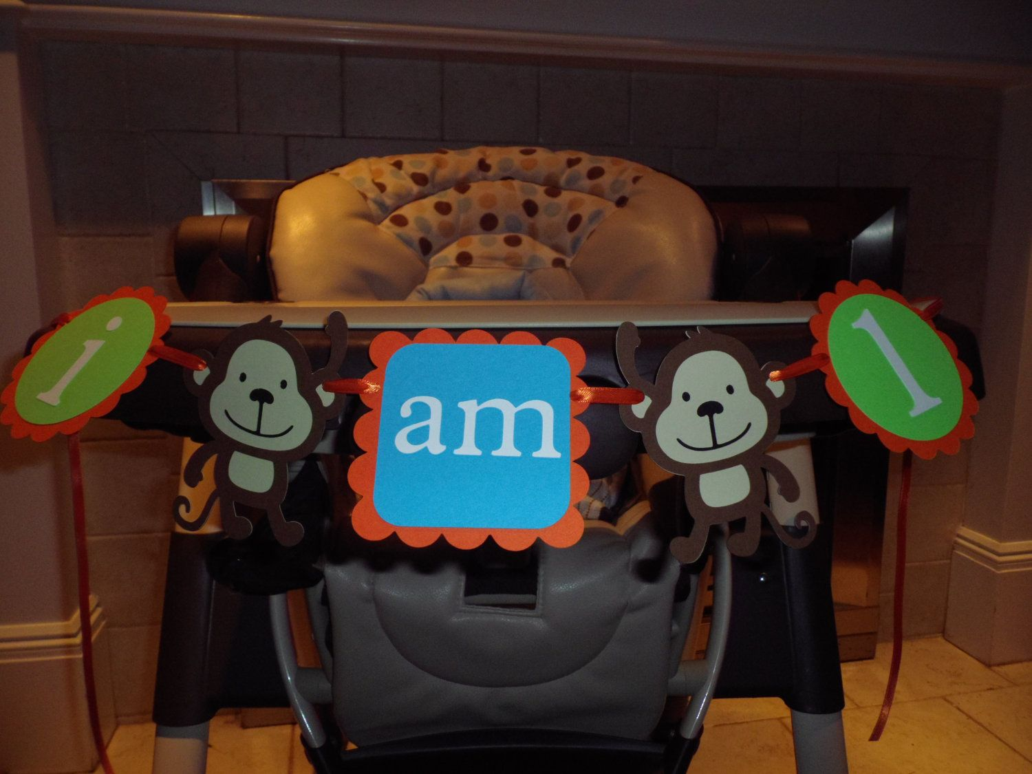 Monkey High Chair Tantra For Sale Birthday Banner Quoti Am 1 Quot Boy
