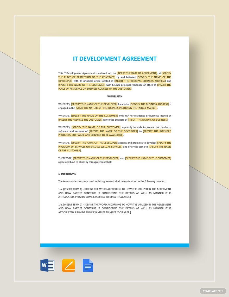 It Development Agreement Template Word Doc Google Docs Apple Mac Pages Website Development Templates Policy Template