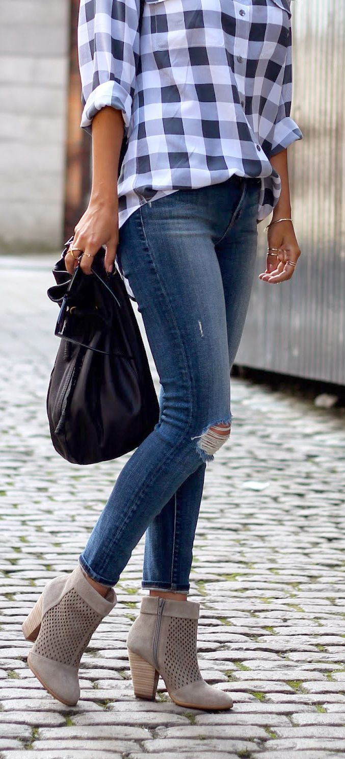 Casual flannel outfits  grey boots blue denim jeans blue and white checked top casual