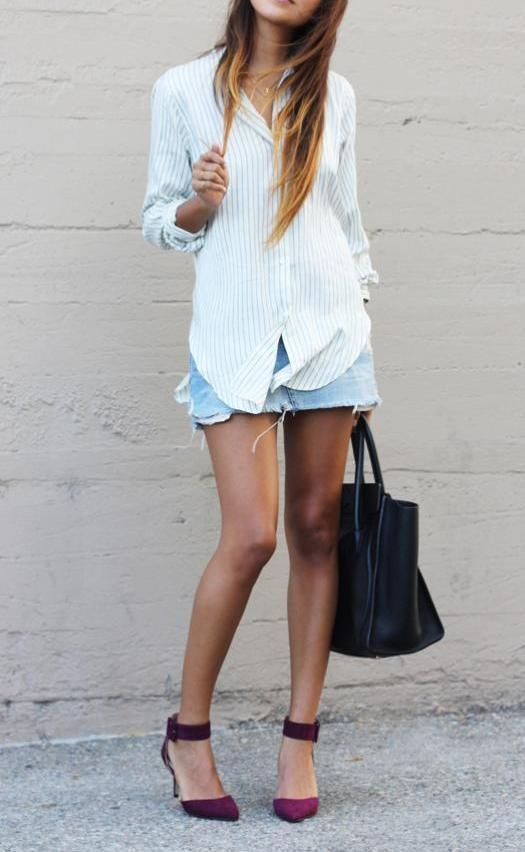Refined Style - awesome fashion blog. Love this look with boyfriend shirt, jean skirt, and colored heels