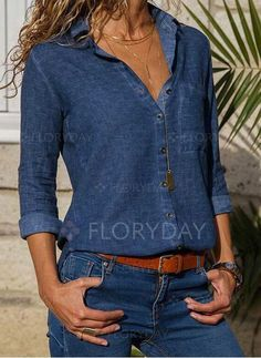 Solid Casual V-Neckline 3/4 Sleeves Blouses  - Flo