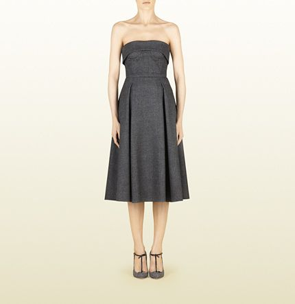 grey stretch flannel strapless dress with images
