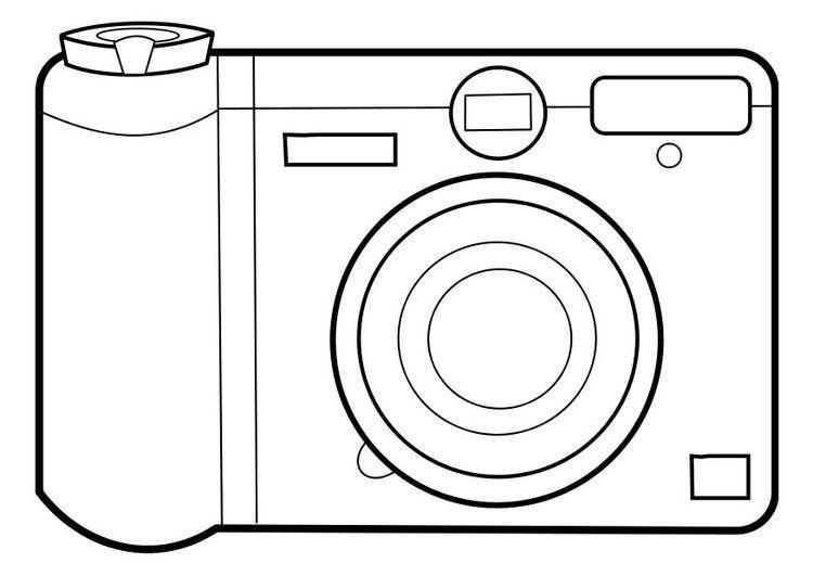 Kleurplaat fototoestel | School | Coloring pages, Camera ...