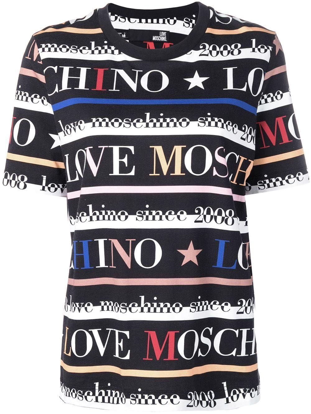 Love Moschino Logo Stripe Print T Shirt Stripe Print Moschino T Shirt