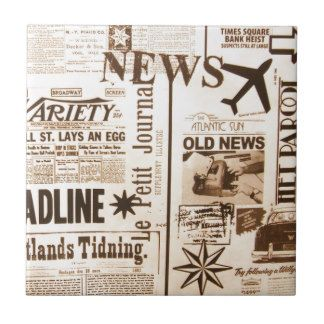 Vintage Newspaper Old News Atlantic Sun Times Ceramic Tile | Vintage ...