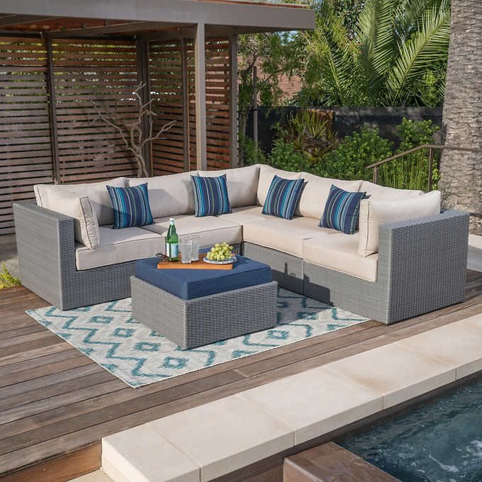 Mission Hills® Silverlake Sectional Set Includes 2 Armless Chairs, 3 Corner  Chairs And 1 Ottoman Aluminum Frames All Weather Resin Wicker Sunbrella®  Fabric