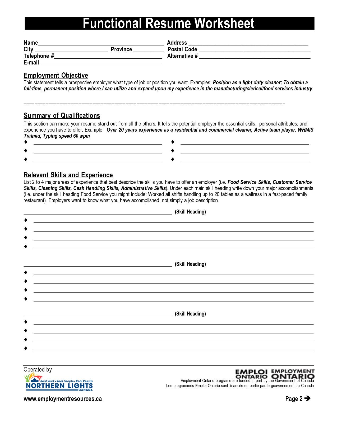 Resume Worksheet For Adults Ministry Of Education And