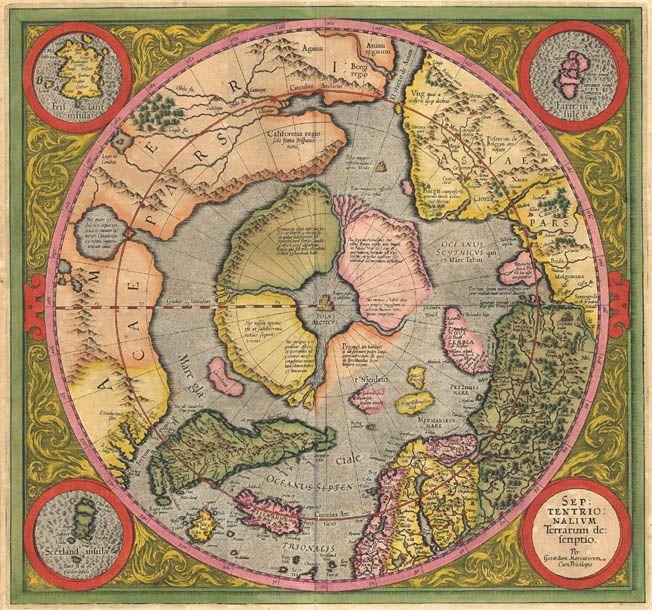 Antique map of north pole arctic by mercator maker mercator title antique map of north pole arctic by mercator maker mercator title septentrionalium terrarum descriptio gumiabroncs Choice Image