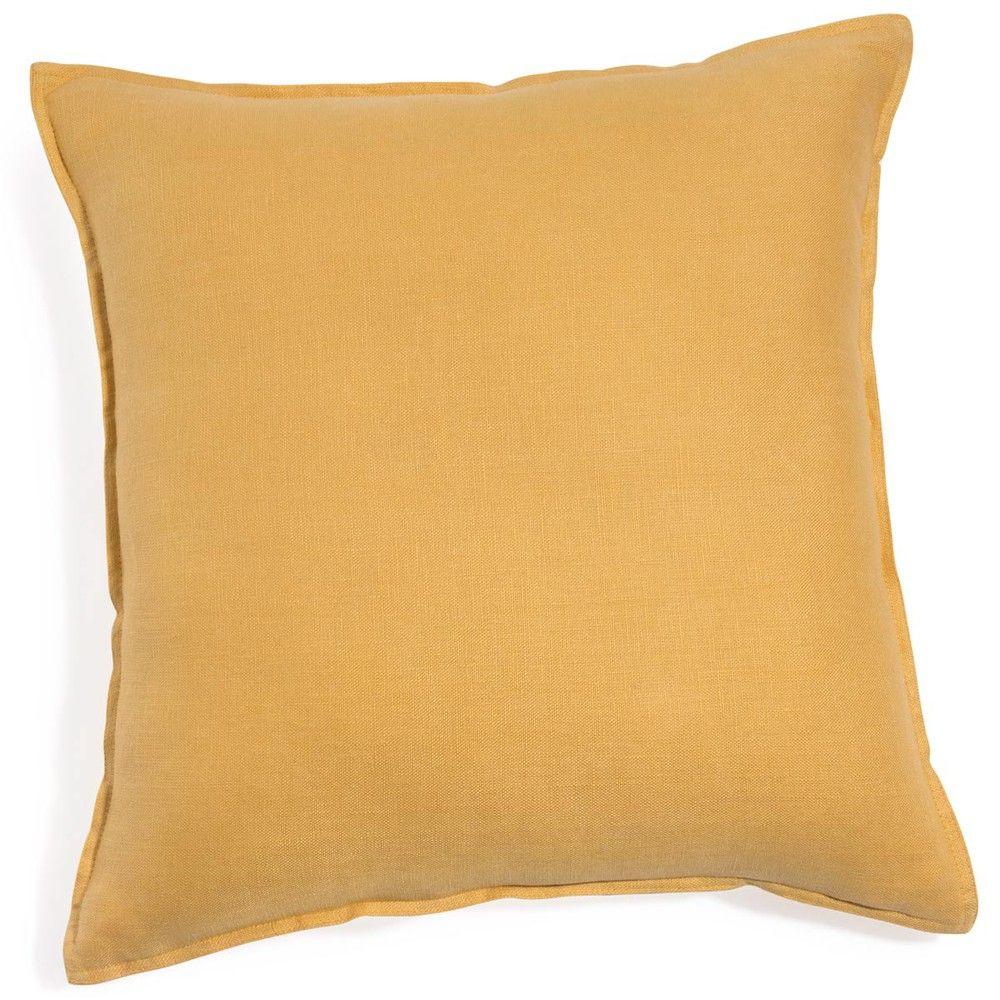 Coussin en lin lav jaune 60x60 coussin lin coussin - Housse coussin 60x60 pour canape ...