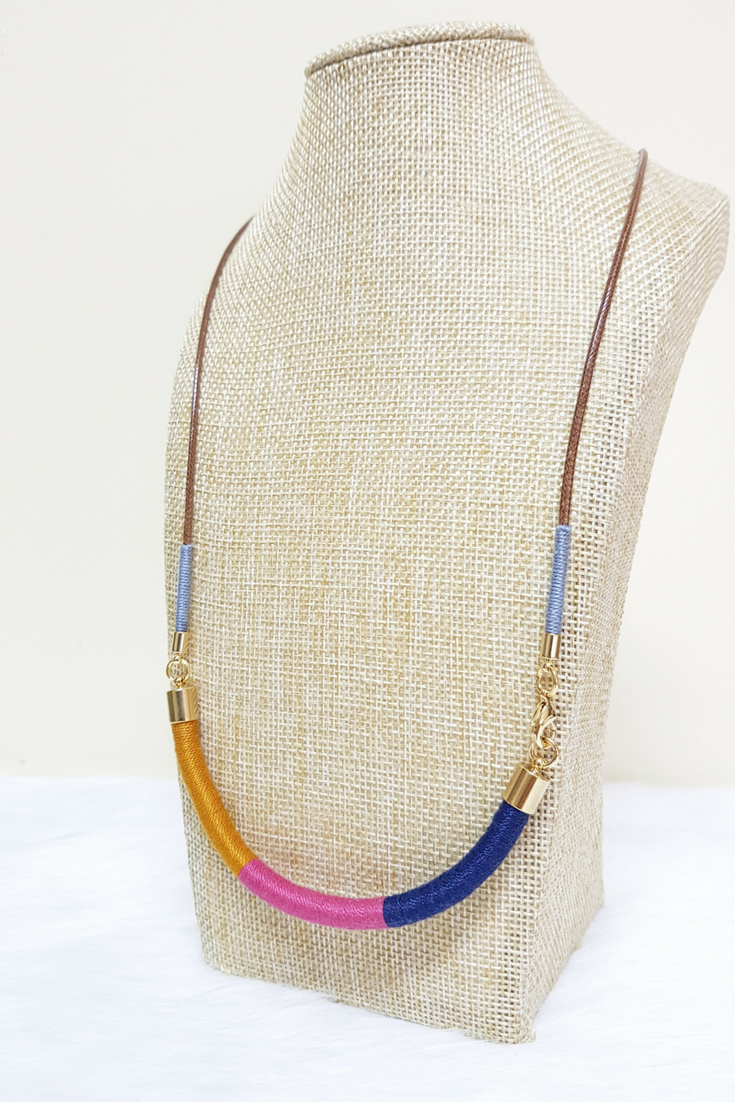 Multicolor necklace for girls thread jewelry gift for women
