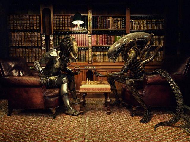 Книги, Шахматы, Чужой против Хищника, Партия, Кабинет, Юмор, Alien vs. Predator, Рендеринг
