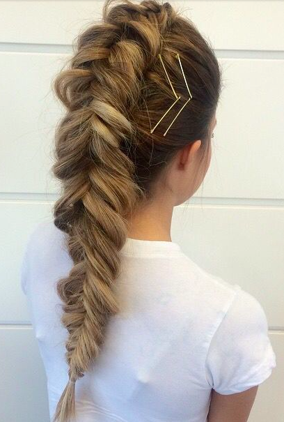 Fishtail French Braid Bobbypin Accents Hair Styles Hair Looks Long Hair Styles