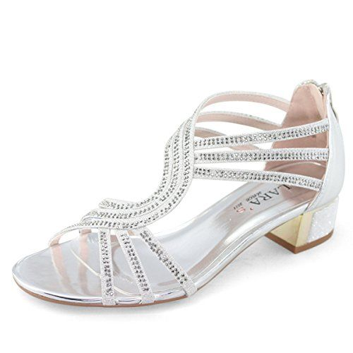 acb094a8529 Shoezy Womens Wedding Diamante Strappy Sandals Block Mid Heels Shoes  Evening Party Prom Silver UK 5
