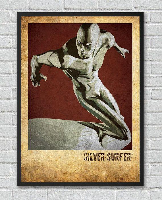 Silver Surfer inspired  vintage poster by FlickGeek on Etsy, $11.00