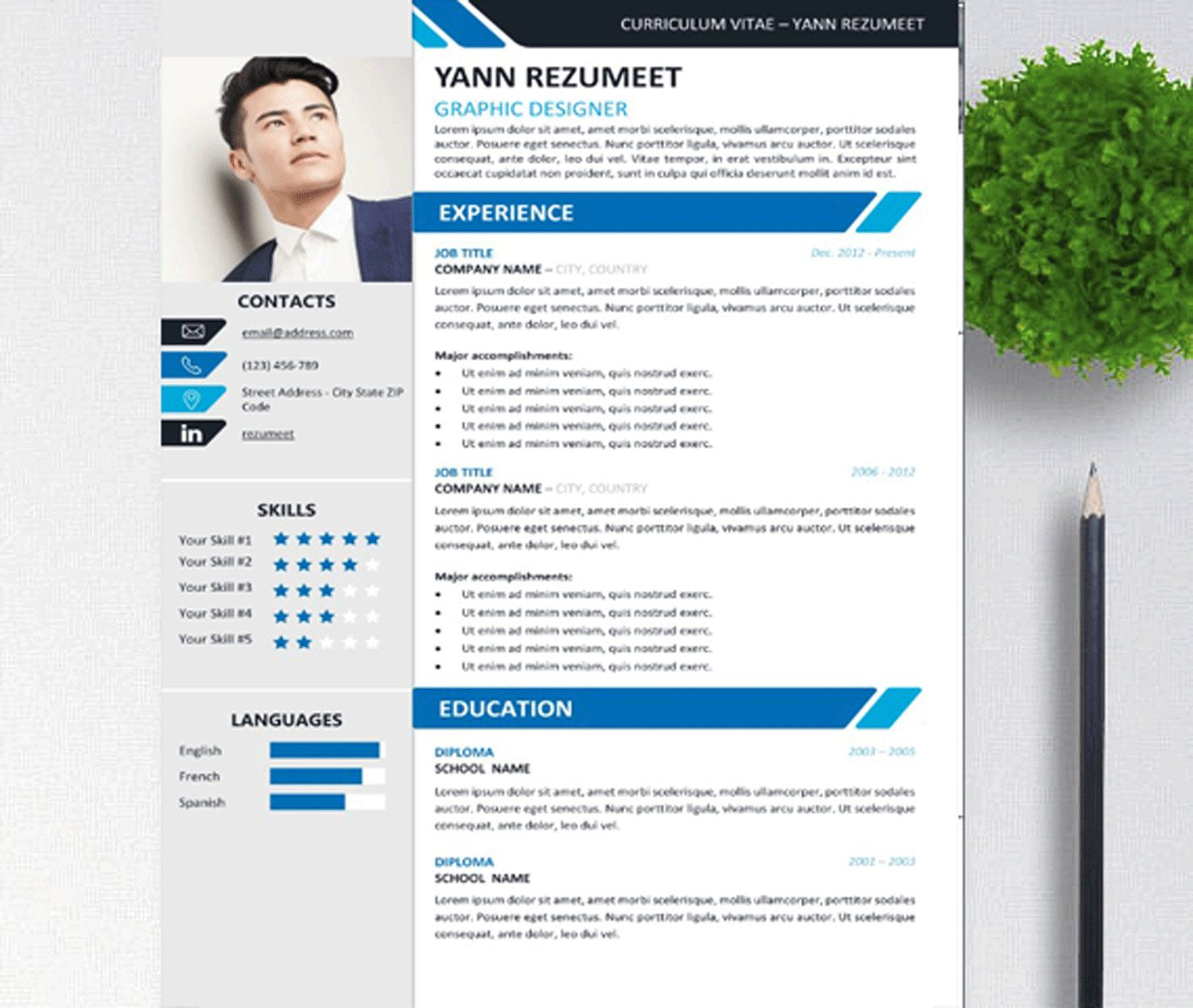 Creative Resume Template for Word, Modern Resume, Instant
