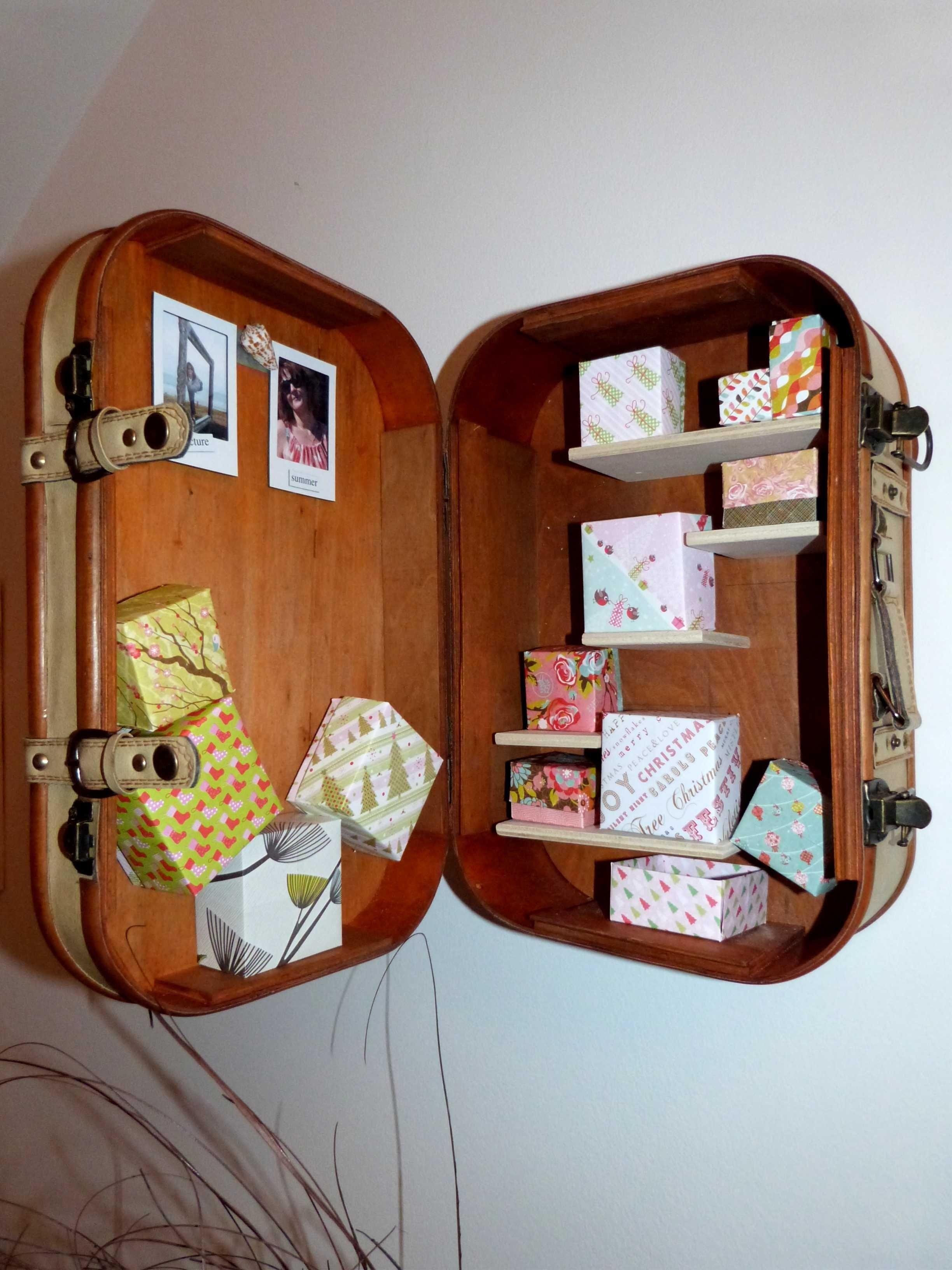 Kofferregal 1 m bel regal und m bel - Alte koffer dekorieren ...
