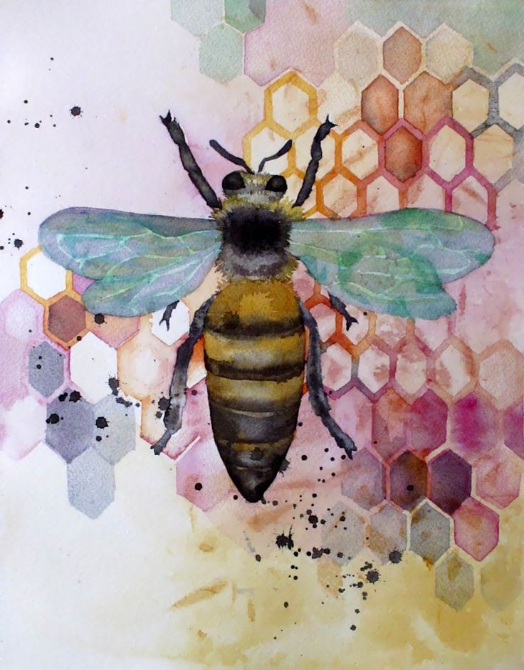 Painting for a Beekeeper is part of Bee painting, Bee art, Bee, Insect art, Bee keeping, Painting - I painted this for a friend's mother who's planning to keep bees this year  Watercolor on Arches CP, 12″ x 17″ I'm experimenting with image processing in case I ever w…