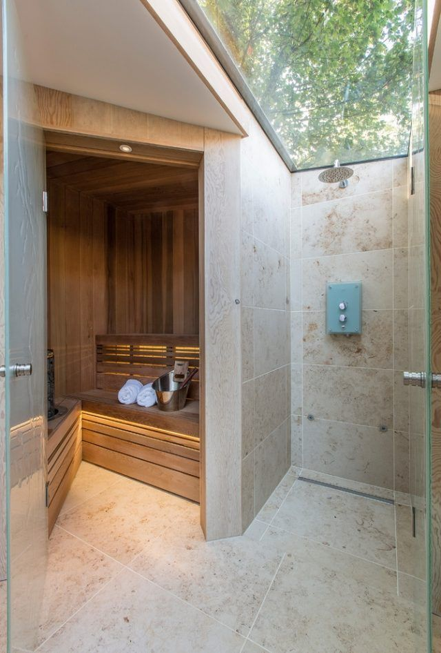 bad sauna planen dusche oberlicht glas baum blick sauna im badezimmer pinterest. Black Bedroom Furniture Sets. Home Design Ideas