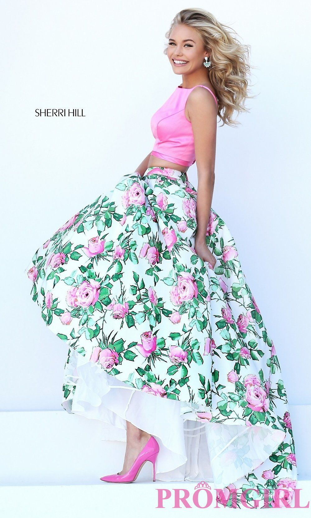 Prom Dresses, Celebrity Dresses, Sexy Evening Gowns: Two Piece Prom Dress by Sherri Hill with Floral Skirt