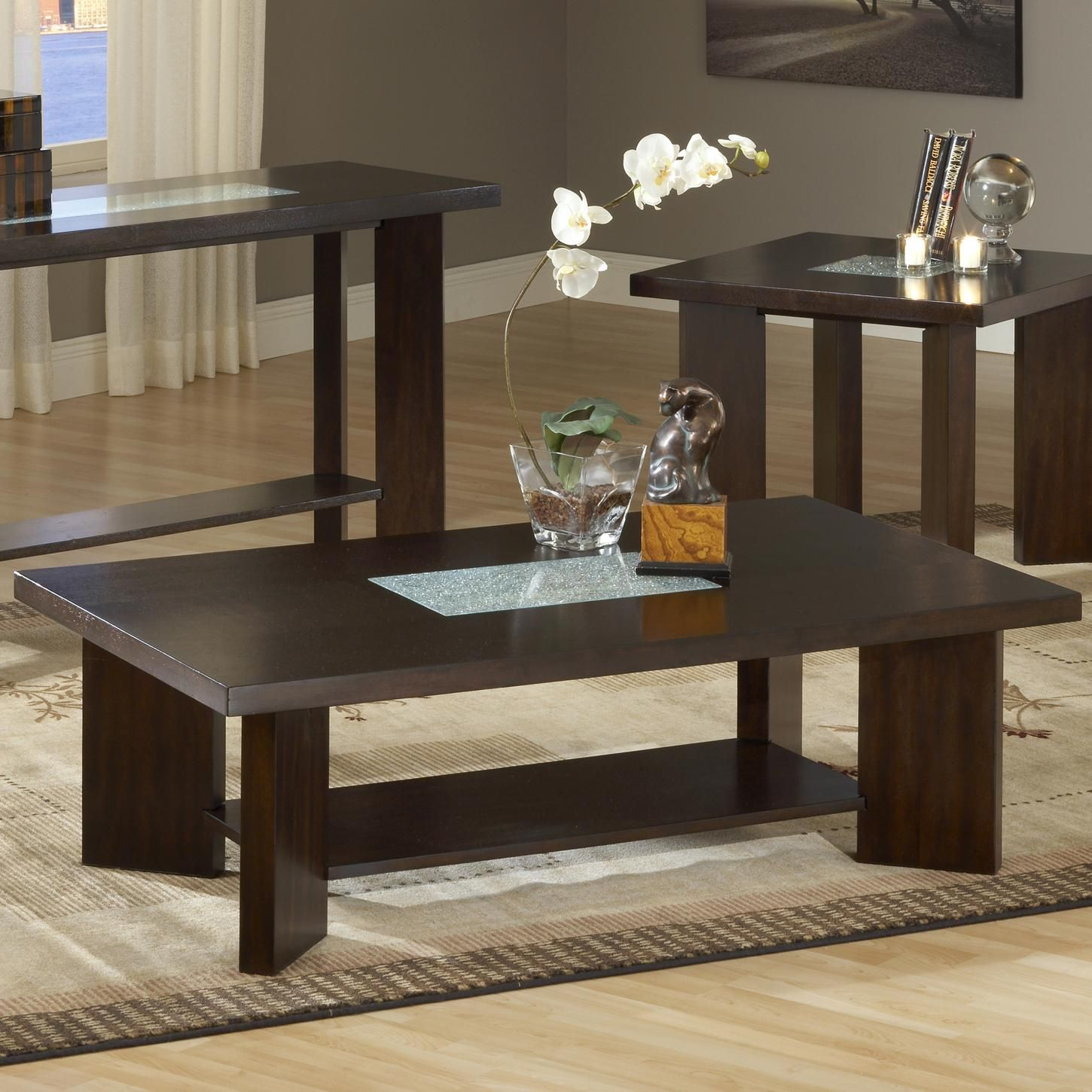 Delano Cocktail Table With Cracked Glass Insert By Steve Silver Coffee Table Furniture Living Room Table Sets [ 1450 x 1450 Pixel ]